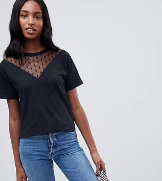 Asos Tall DESIGN Tall t-shirt with dobby mesh chevron insert