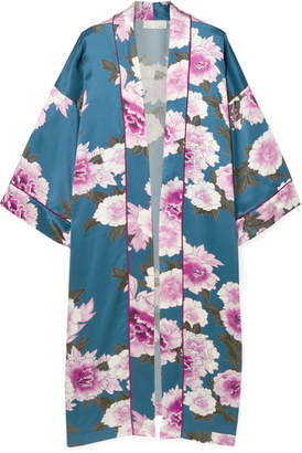 Fleur Du Mal Floral-print Silk-satin Robe - Petrol