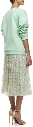 Christopher Kane Plasma Pleated Lace Midi Skirt