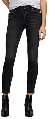 AllSaints Grace Raw-Edge Ankle Skinny Jeans in Washed Black