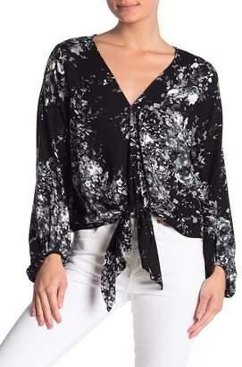 Love Stitch Floral Print Tie Front Blouse
