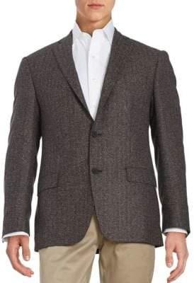 Calvin Klein Herringbone Two-Button Wool-Blend Jacket
