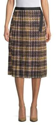 Ellen Tracy Pleated Plaid Skirt