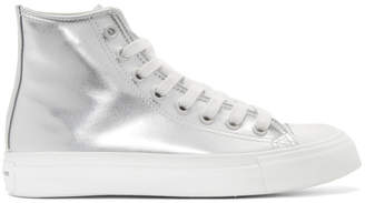 Junya Watanabe Silver Synthetic Leather High-Top Sneakers