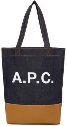 A.P.C. Navy & Tan Denim Axel Tote