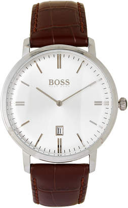 HUGO BOSS 1513462 Silver-Tone & Brown Tradition Watch