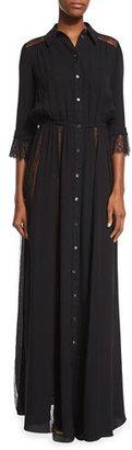 Michael Kors Lace-Inset Button-Front Gown, Black $4,595 thestylecure.com