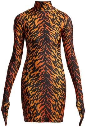 Vetements Tiger print glove-sleeved jersey dress