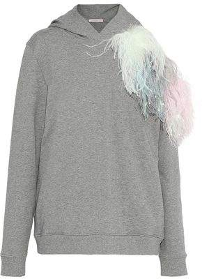 Christopher Kane Feather And Tinsel-Embellished Cutout Cotton-Terry Hoodie