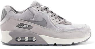 Nike Air Max 90 Suede-trimmed Velvet Sneakers - Gray