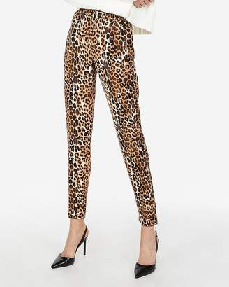Express High Waisted Leopard Ankle Dress Pant