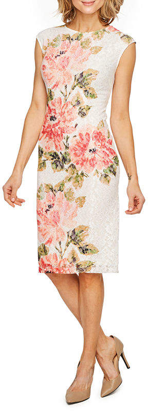 LIZ CLAIBORNE Liz Claiborne Cap Sleeve Floral Lace Sheath Dress