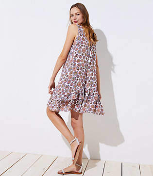 LOFT Beach Floral Ruffle Swing Dress