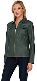 Dennis Basso Faux Leather Zip Front Jacket withSeam Detail
