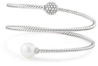 David Yurman Petite Solari Coil Bracelet With Diamonds In 18K White
