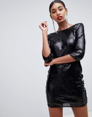 69abda8102 TFNC sequin mini bodycon dress with lace scallop back in black