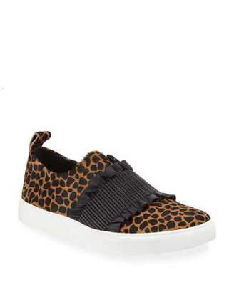 Donald J Pliner Sal Ruched Cheetah-Print Slip-On Sneakers