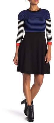 Eliza J Long Sleeve Stripe Knit Dress