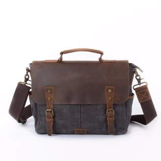 EAZO - Waxed Canvas Messenger Bag With Dslr Camera Sleeve in Grey
