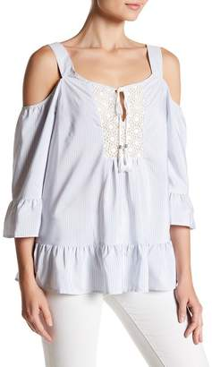 DR2 by Daniel Rainn Lace Bib Cold Shoulder Stripe Shirt $68 thestylecure.com