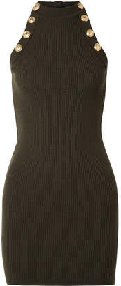 Balmain Button-embellished Ribbed Wool-blend Mini Dress - Army green