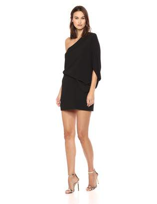 Halston Women's One Shoulder Asymmetric Sleeve Dress