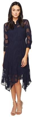 Donna Morgan Chiffon Jacquard Shirtdress with Handkerchief Hem Women's Dress