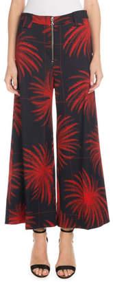 Victoria Beckham Victoria Cropped Wide-Leg Fireworks-Print Culottes