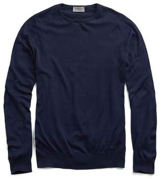 John Smedley Sweaters Hatfield Cotton Crewneck Sweater in Navy