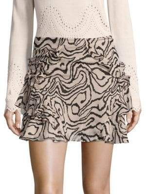 Derek Lam Ruffled Silk Mini Skirt