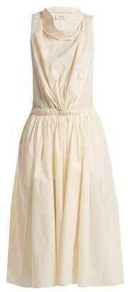 Lemaire Draped-neck cotton-poplin dress