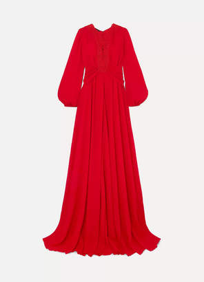 Giambattista Valli Guipure Lace-trimmed Gathered Crepe De Chine Gown