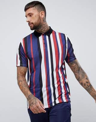 0e262b817f Asos Design DESIGN relaxed polo shirt with vertical stripe