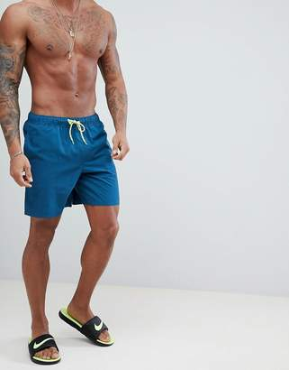 Asos DESIGN Swim Shorts In Blue With Neon Drawcord In Mid Length