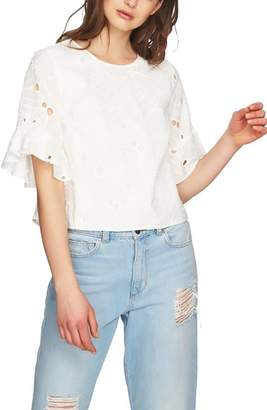 1 STATE 1.STATE Embroidered Ruffle Eyelet Top
