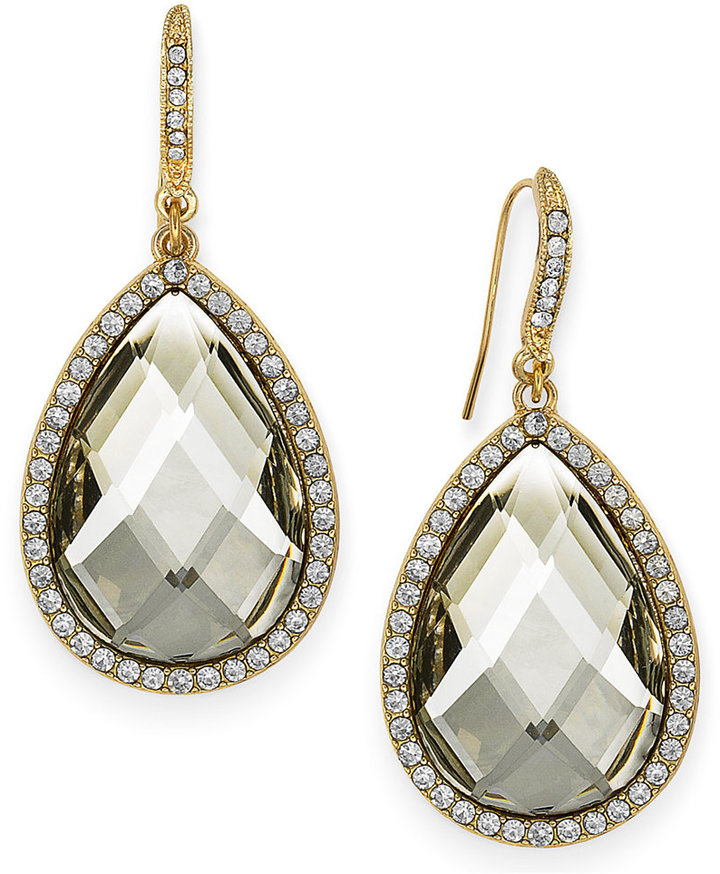 INC International Concepts Gold-Tone Black/Grey Cabochon Pave Edge Teardrop Earrings