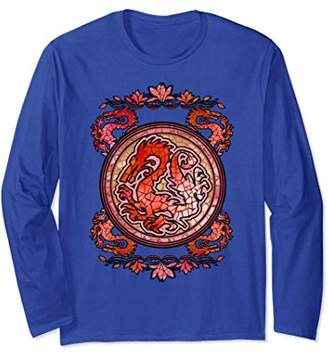 Disney Mulan Stained Glass Dragon Emblem Long Sleeve Tee