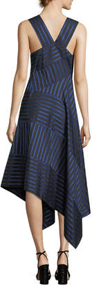 Derek Lam Shadow-Stripe Sleeveless Midi Dress