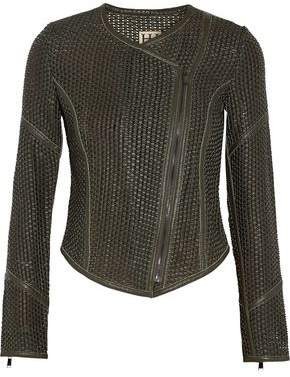 Haute Hippie Woven Leather Biker Jacket