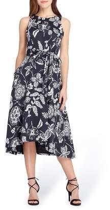 Tahari Print Sateen Midi Dress