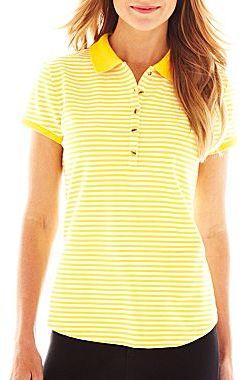 Liz Claiborne Short-Sleeve Striped Polo Shirt