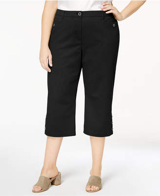 Karen Scott Plus Size Button-Cuff Capri Pants, Created for Macy's
