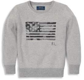Ralph Lauren Boy's Camo Flag Cable-Knit Sweater