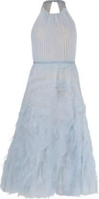 Marchesa Drape Bodice Cut Out Gown