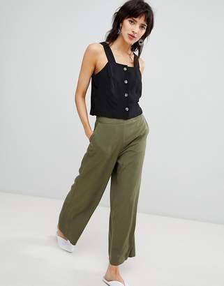 Warehouse wide leg cropped pants in khaki