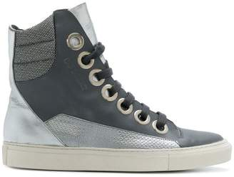 Raf Simons contrast patterned hi-top sneakers