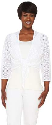Denim & Co. 3/4 Sleeve Jacquard Lace Shrug