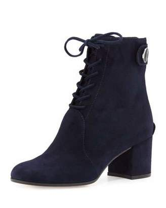 Gianvito Rossi Finlay Mid Suede Lace-Up Bootie, Denim $1,275 thestylecure.com