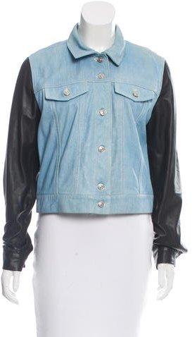 Barbara BuiBarbara Bui Denim Print Leather Jacket