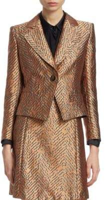 Emporio Armani One-Button Animal Jacquard Jacket